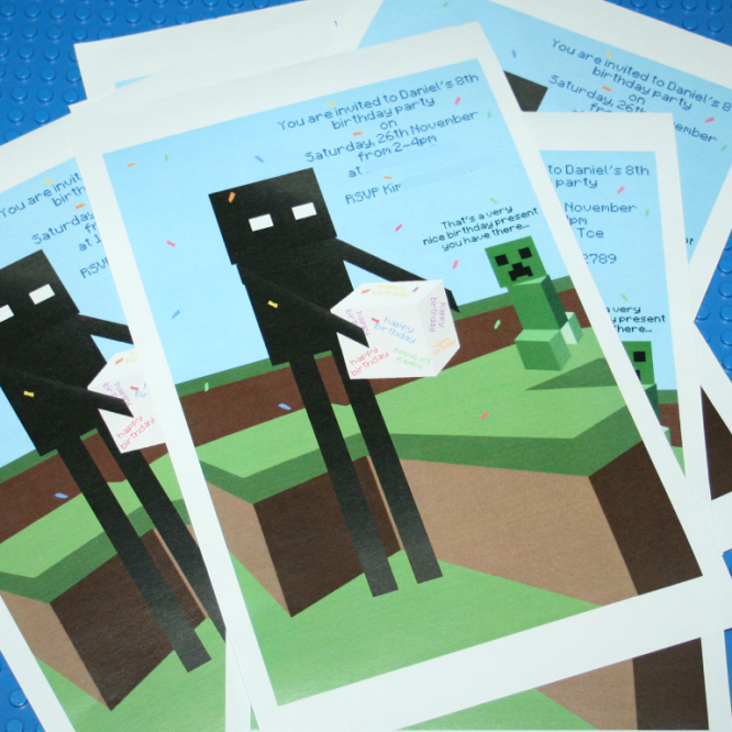 Minecraft Party Invitation  Minecraft Party