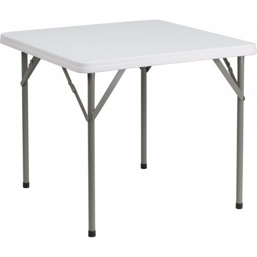 Heavy Duty Square Granite White Plastic Folding Card Table 34 W X 34 L Blue Chairs Living Room Table Folding Table