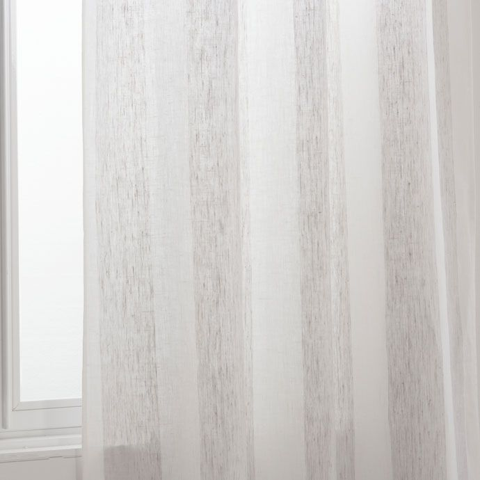 White and beige striped linen curtain - CURTAINS - BEDROOM | Zara Home United Kingdom