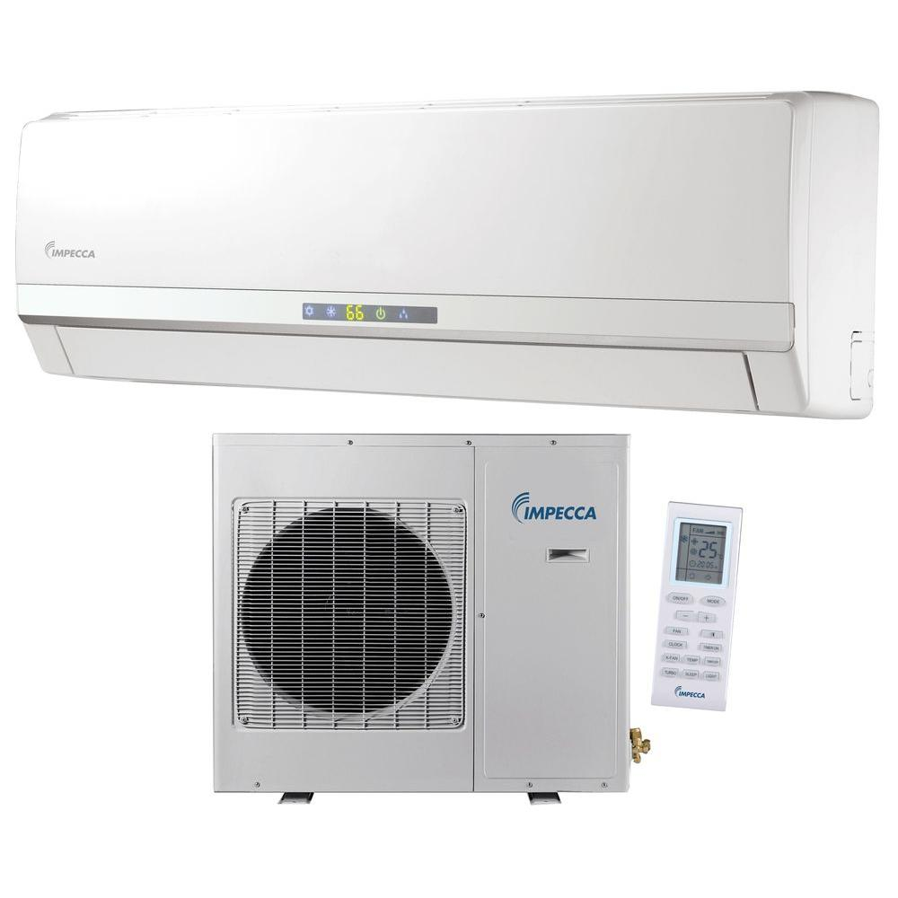 Impecca 12 000 Btu Ductless Mini Split Air Conditioner Heat Pump With Inverter System 115v 60hz Isah 1220a1s The Home Depot In 2020 Ductless Mini Split Ductless Air Conditioner Heat Pump