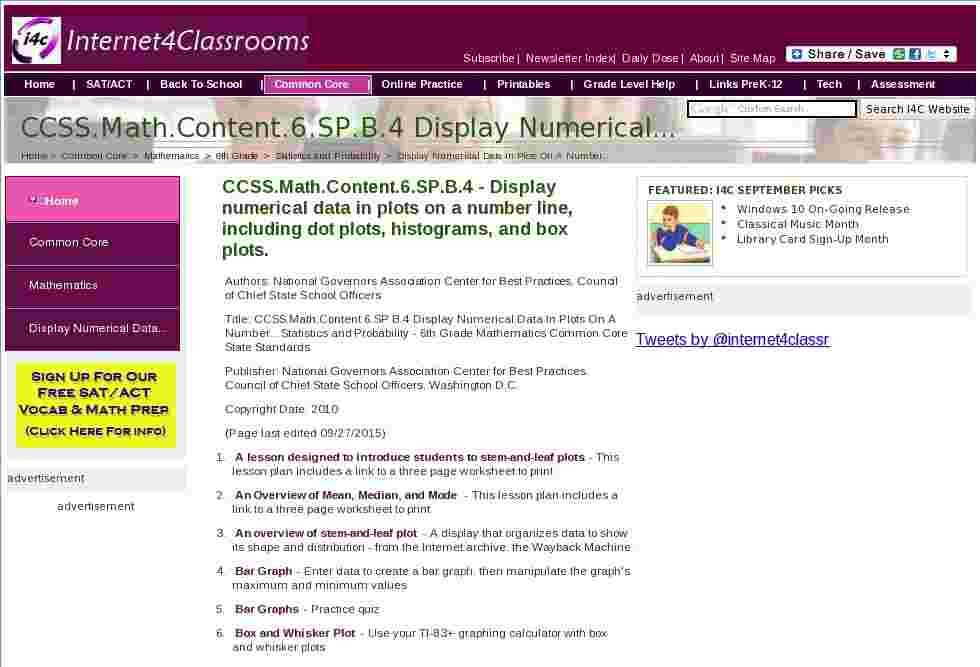 CCSS.Math.Content.6.SP.B.4 Display Numerical Data In Plots On A