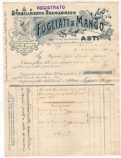 [FT1] FATTURA STABILMENTO BACOLOGICO FOGLIATI MANGO ASTI 1900