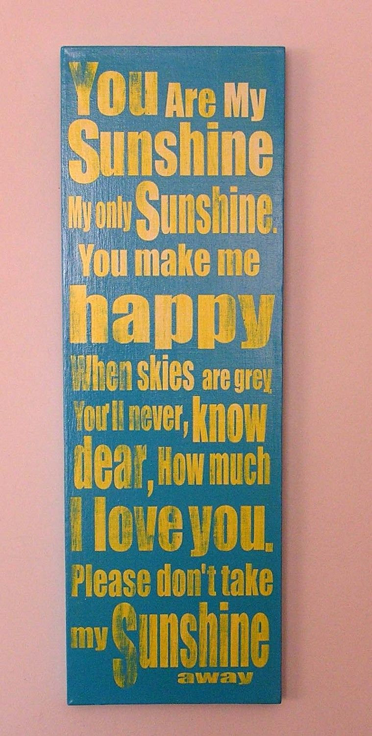 You are My Sunshine, Fun, Expressive Word Canvas, wall decor, for ...