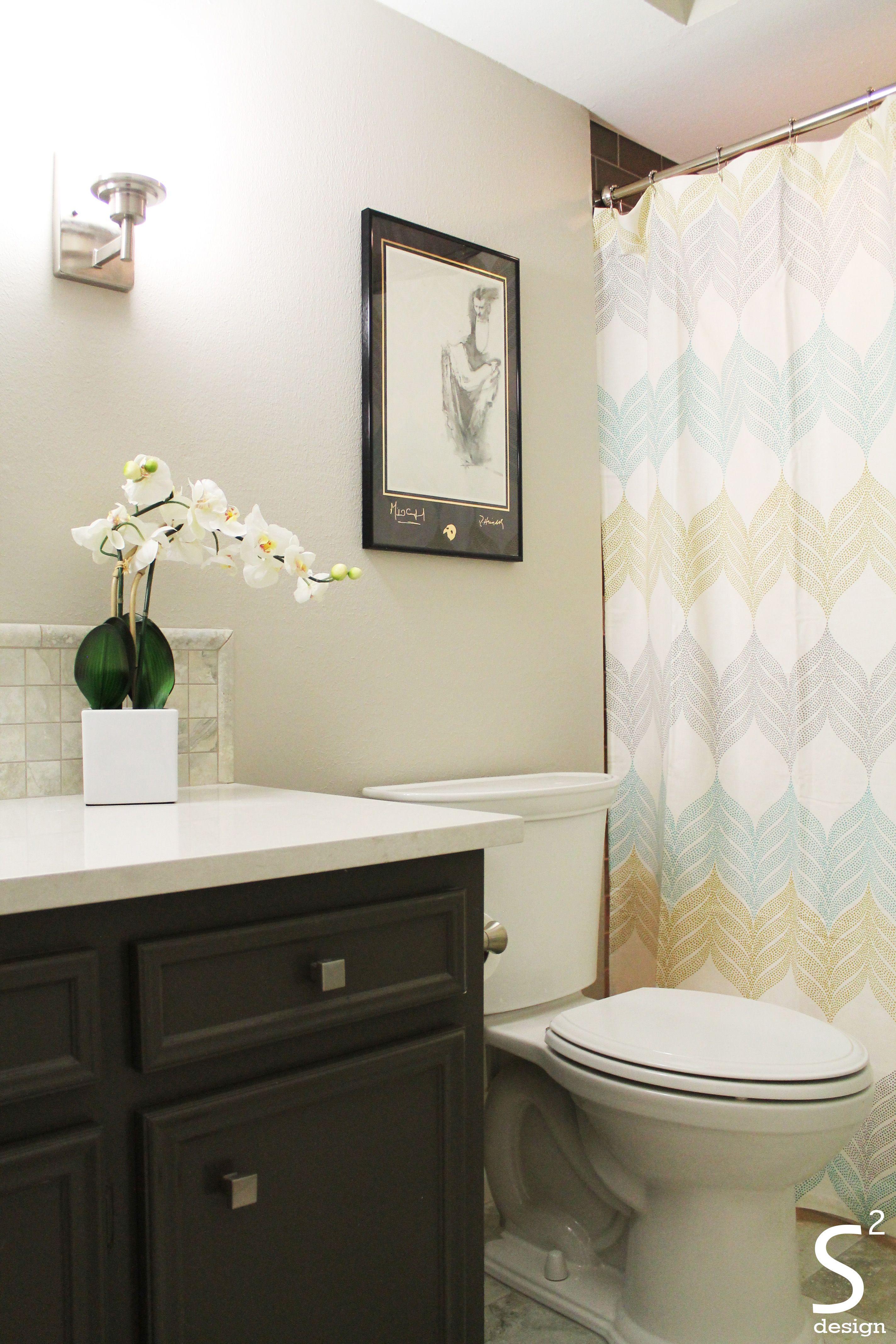 Bathroom Design Houston modern bathroom grey cabinet white countertops orchid blue shower