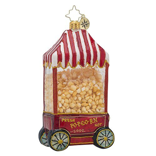 Christopher Radko Hot Pop PopCorn Machine Glass Christmas Ornament