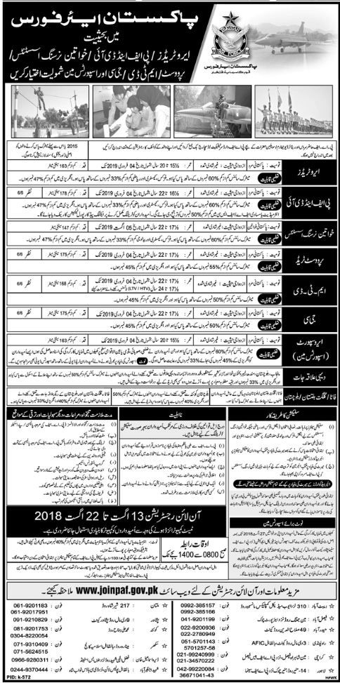 Job in Pakistan Air Force (PAF) daily Jang dated 1208