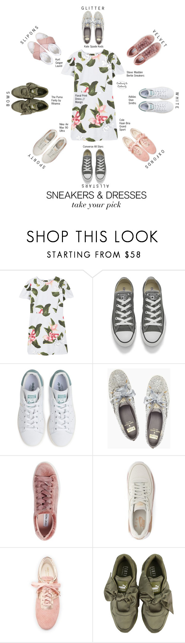 """""""Untitled #1659"""" by contrary-to-ordinary ❤ liked on Polyvore featuring MANGO, Converse, adidas, Kate Spade, Steve Madden, NIKE, Cole Haan, Puma, Kurt Geiger and sneakers"""
