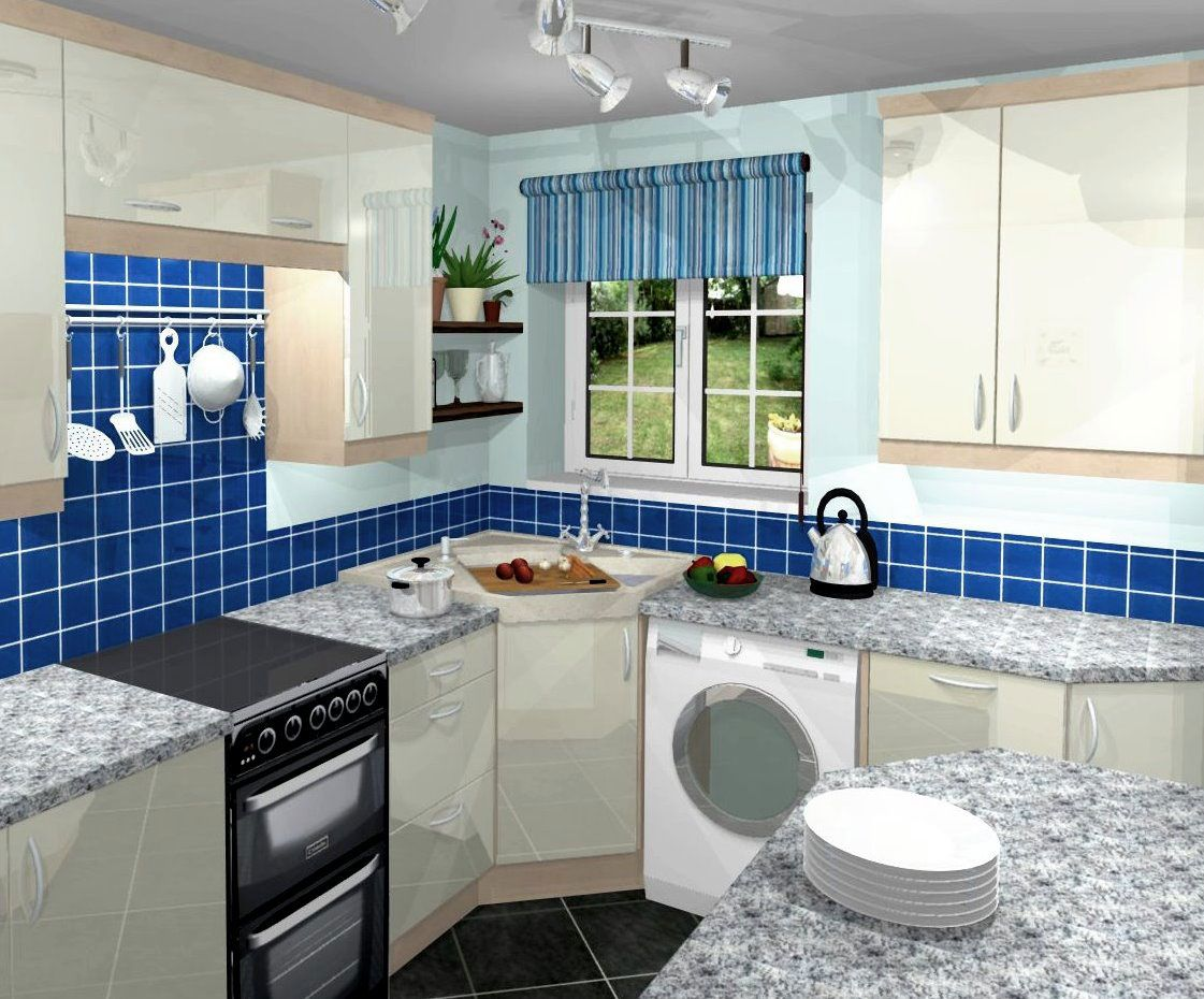 Home interior design for small kitchen - Blue Small Kitchen Layout Tile Backsplash Marble Countertop Combined With White Cabinet And Cupboard Furniture For Home Inspiration