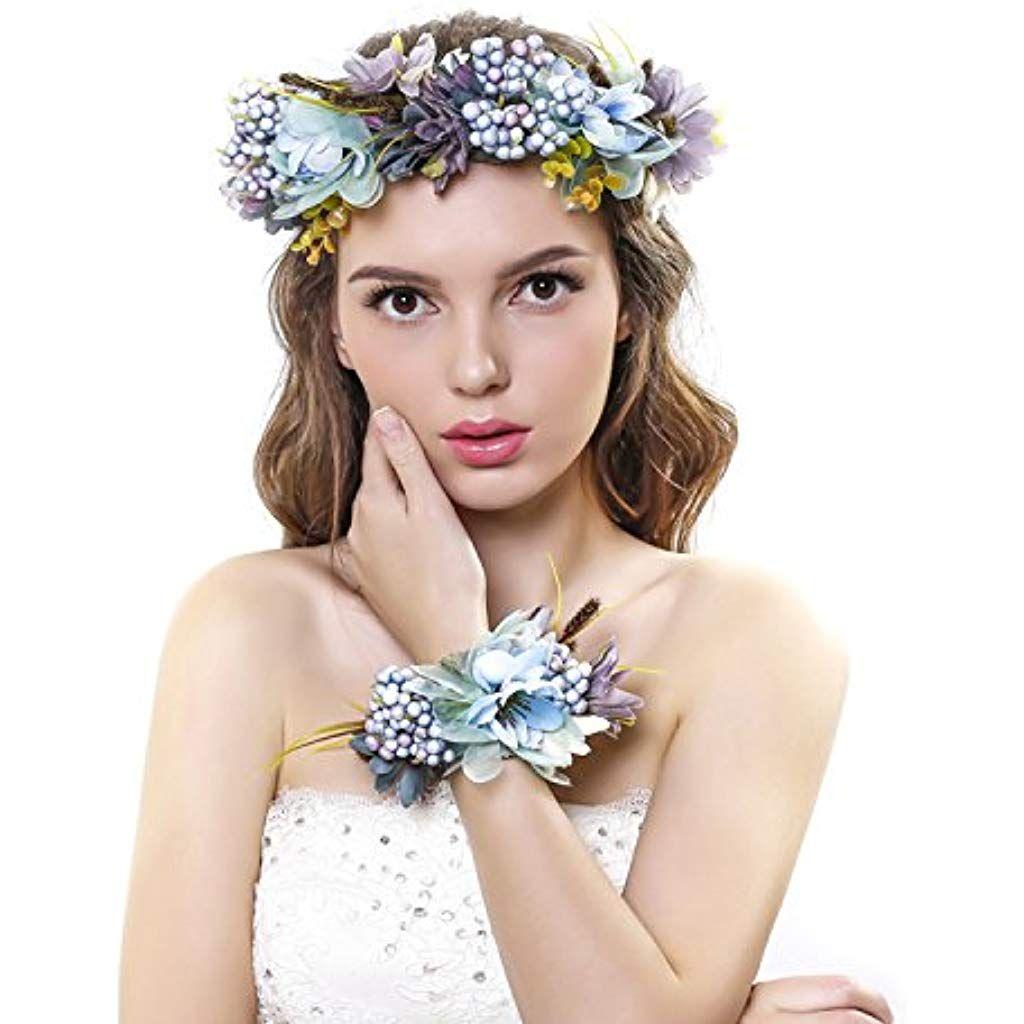 Photo of Fascia per capelli Ever Fairy® con corona floreale e fascia da polso con corona floreale, set da sposa per donna e ragazza Beige Taglia unica