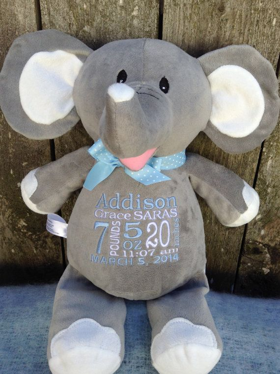 Personalized baby gift elephant stuffed animal embroidered birth monogrammed baby gift personalized baby gift elephant birth announcement by worldclassembroidery 3999 negle Gallery