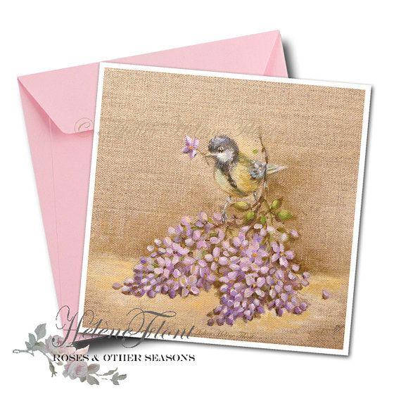 ART PRINT Impression peinture carte Mésange perchée Branche de lilas printemps Faire part Naissance Mariage Campagne © Hélène Flont Designs