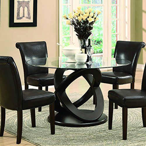 Monarch Tempered Glass Dining Table -Inch Diameter Dark
