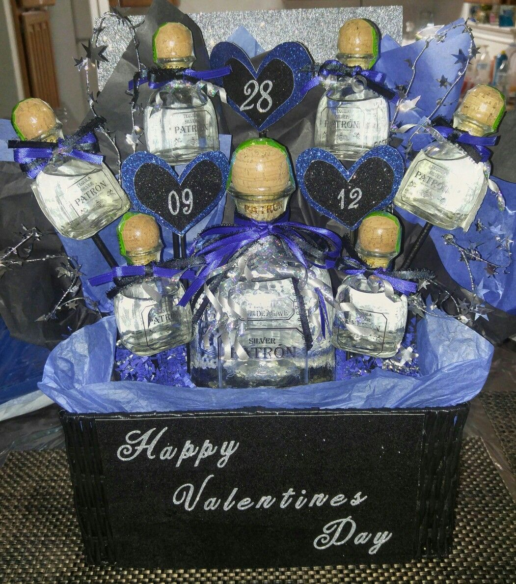 #patron #tequila #blue #black #basket #valentines #gift for him