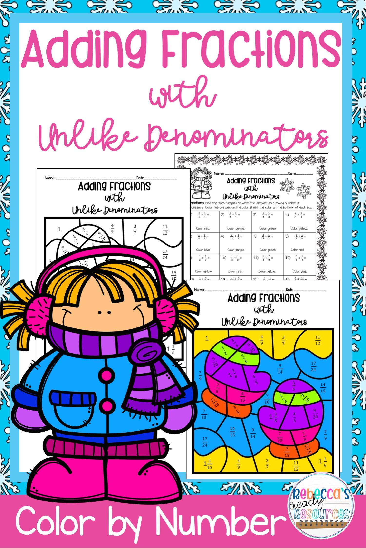 Adding Fractions With Unlike Denominators Color By Number