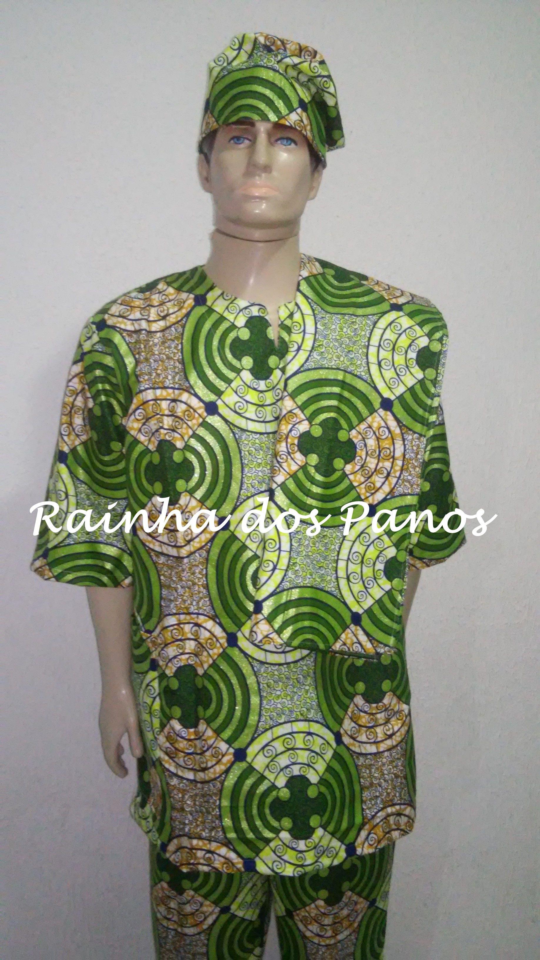 1628f928a  conjunto masculino para candomblé  camisa  calça  gorro  alaká  tecido  africano