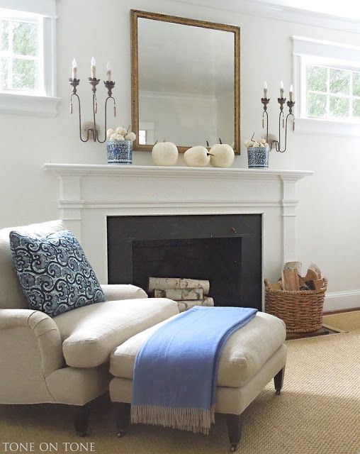Simple mantel decorating with mirror and sconces | Family ...
