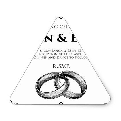 Wedding Rings Bands Wedding Invitation Template Triangle Sticker