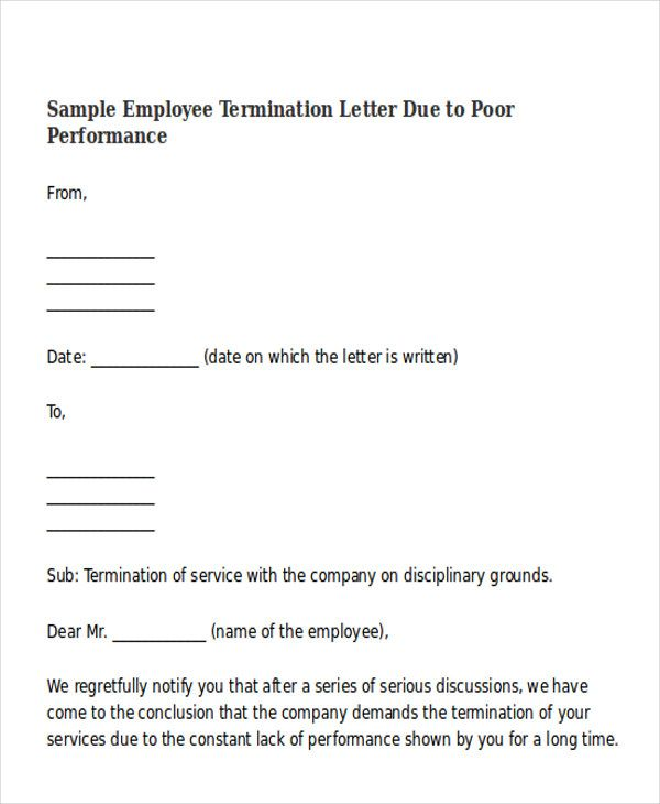 Termination Letter Format Templates Free Amp Premium Sample   Employee  Termination Letter  Sample Employee Termination Letter