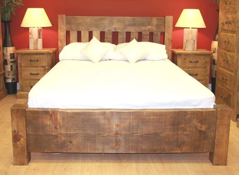 New Wooden Double Bed Rustic Chunky Plank Slat Solid Wood Wooden