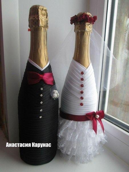 Украшения на свадебное шампанское фото