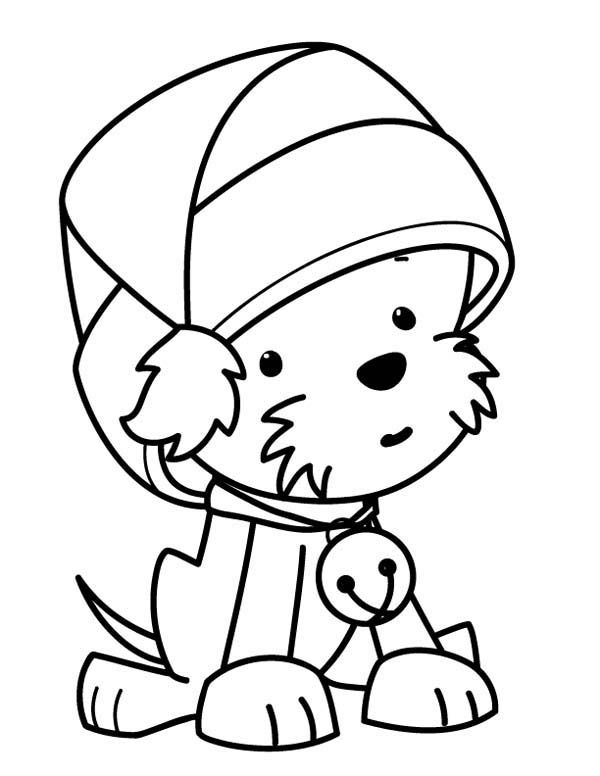 A Cute Little Dog Wearing Santas Hat On Christmas Coloring Page Kids Play Color In 2021 Puppy Coloring Pages Dog Coloring Page Cute Coloring Pages
