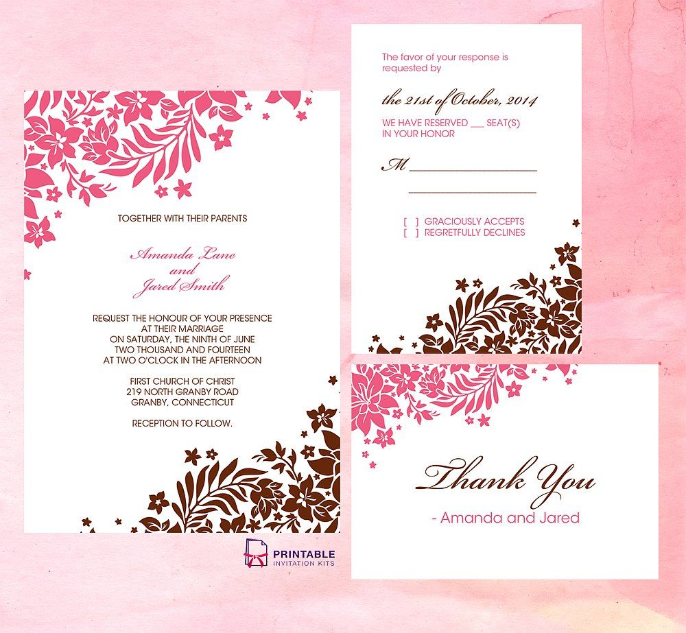 Pink and Brown Foliage Wedding Invitation | Invitation kits, Free ...