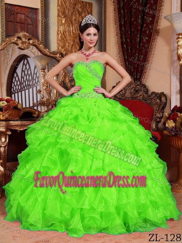 New Beaded Spring Green Organza Sweetheart Sweet 15 Dresses with ...