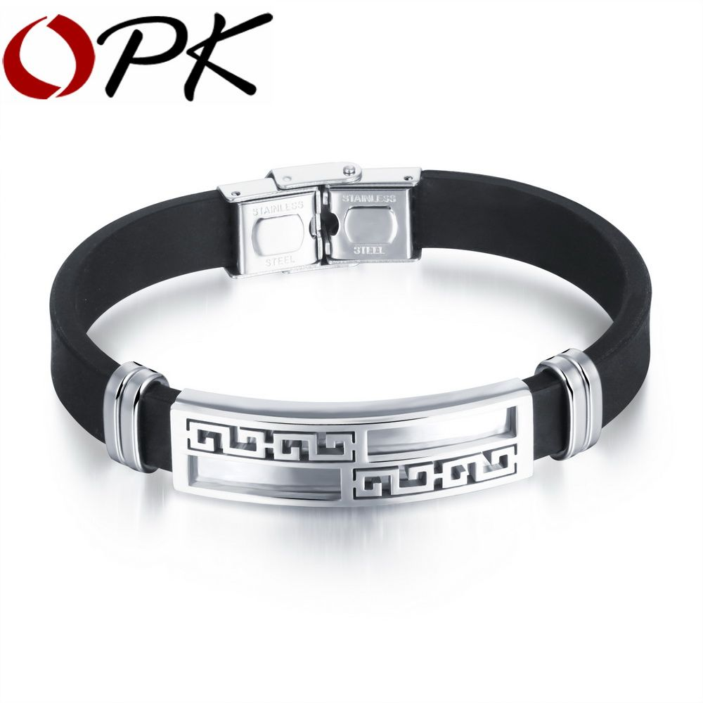 Opk black silicone man charm bracelets u bangles newest