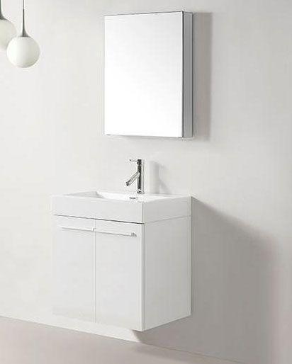 Abodo 24 Inch Wall Mounted White Bathroom Vanity Ponderoza