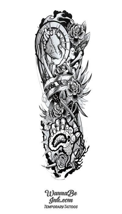 Heart in Hand Roses and Bones Temporary Sleeve Tattoos