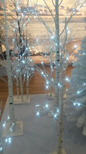 Pre Lit Paper Birch Tree 3metre Tall Indoor Outdoor Silver Birch Twig Tree Birch Tree Decor Christmas Tree Decorations Christmas Tree Images