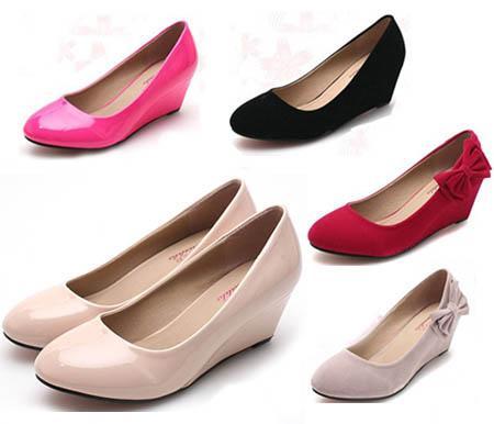 0ff80fd4a88 Classy Solid Elegant Women Shoes Wedge Round Toe Kitten Heels Dress Slide  Pumps