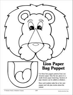 pig puppet template - lion paper bag puppet pattern 2015 vbs pinterest