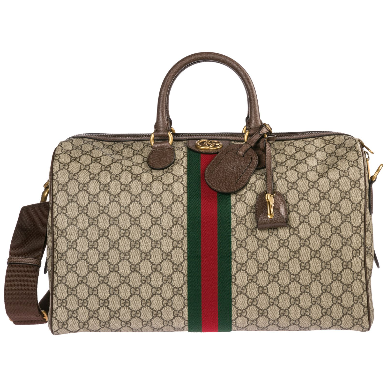 56b9d3cc149b5f GUCCI GENUINE LEATHER TRAVEL DUFFLE WEEKEND SHOULDER BAG OPHIDIA. #gucci # bags #leather #travel bags #weekend