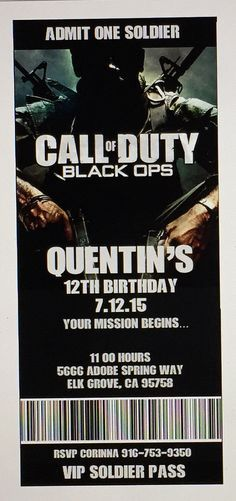 Call of duty birthday invitations xboxps3 birthday party call call of duty xbox theme birthday party invitations customizable printable pdf file filmwisefo Image collections