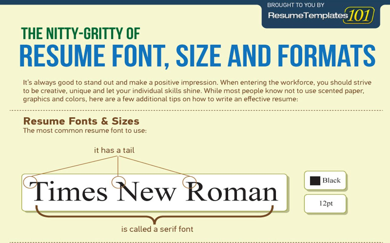 The Perfect Resume Font, Size and Formats [INFOGRAPHIC