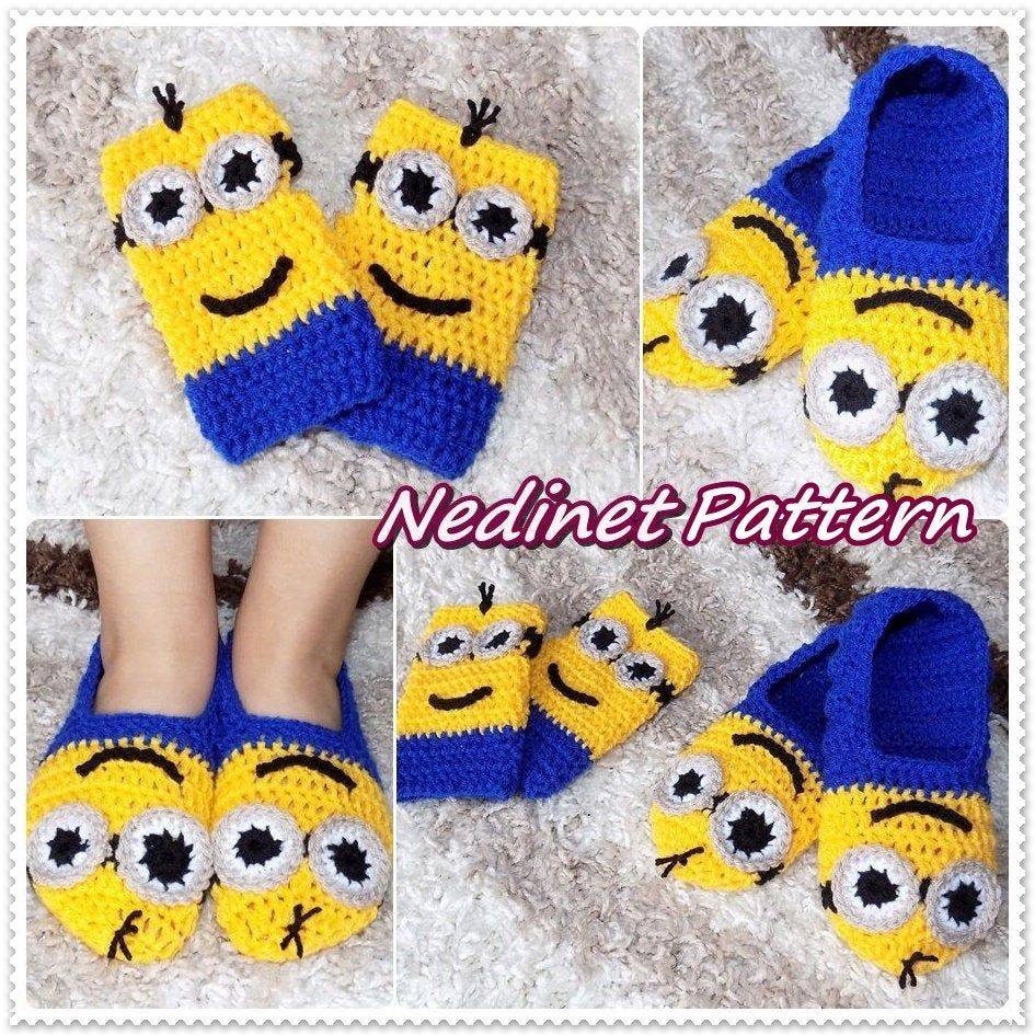 Crochet Minions Slippers, Crochet Pattern, Minions Mittens, Crochet Slippers, Crochet Shoes, Footwear, Baby to Adult, Home Slippers Pattern