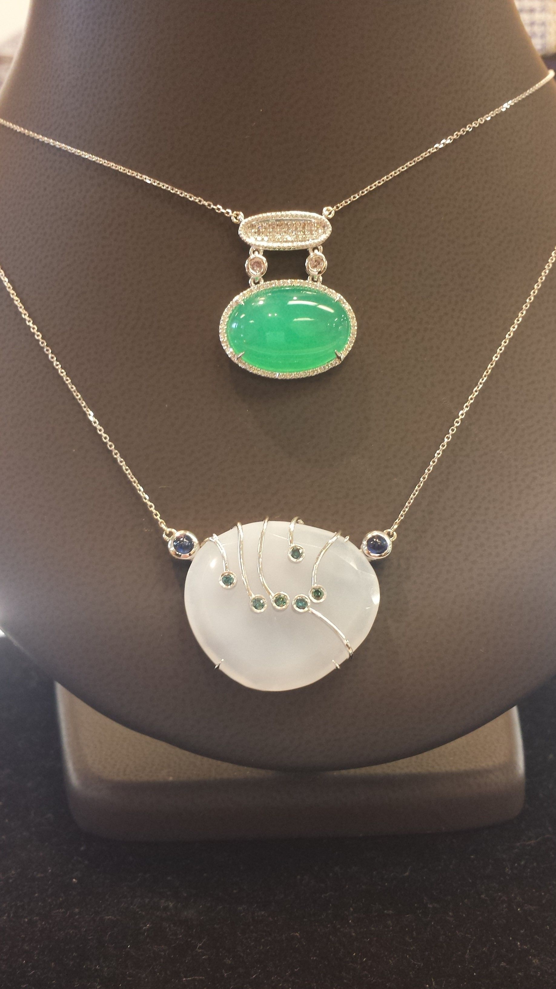 BOTTOM: 14K WHITE GOLD CHALCEDONY, SAPPHIRE AND BLUE DIAMOND NECKLACE TOP: 14K WHITE GOLD GREEN CHRYSOPRASE AND DIAMOND NECKLACE
