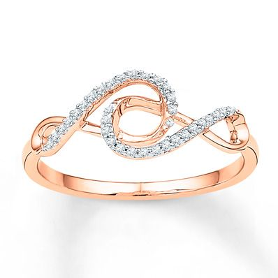 Double Infinity Ring 1 10 ct tw Diamonds 10K Rose Gold