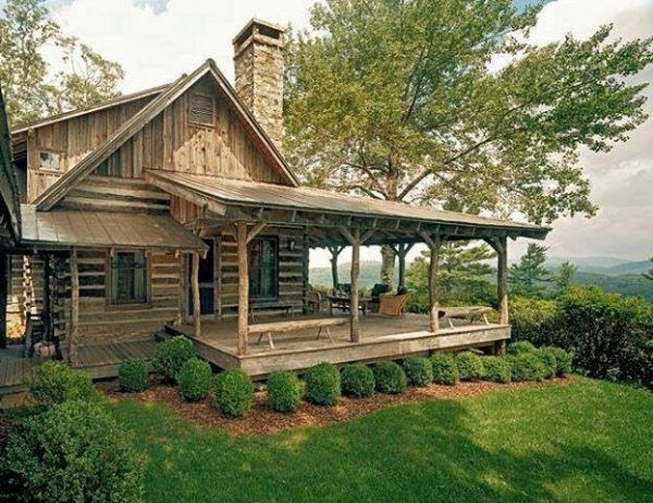 decoration dazzling small cabin with wrap around porch using old wooden wall panels attached by simple front doors also casement windows beside outdoor lantern lights on patio decks