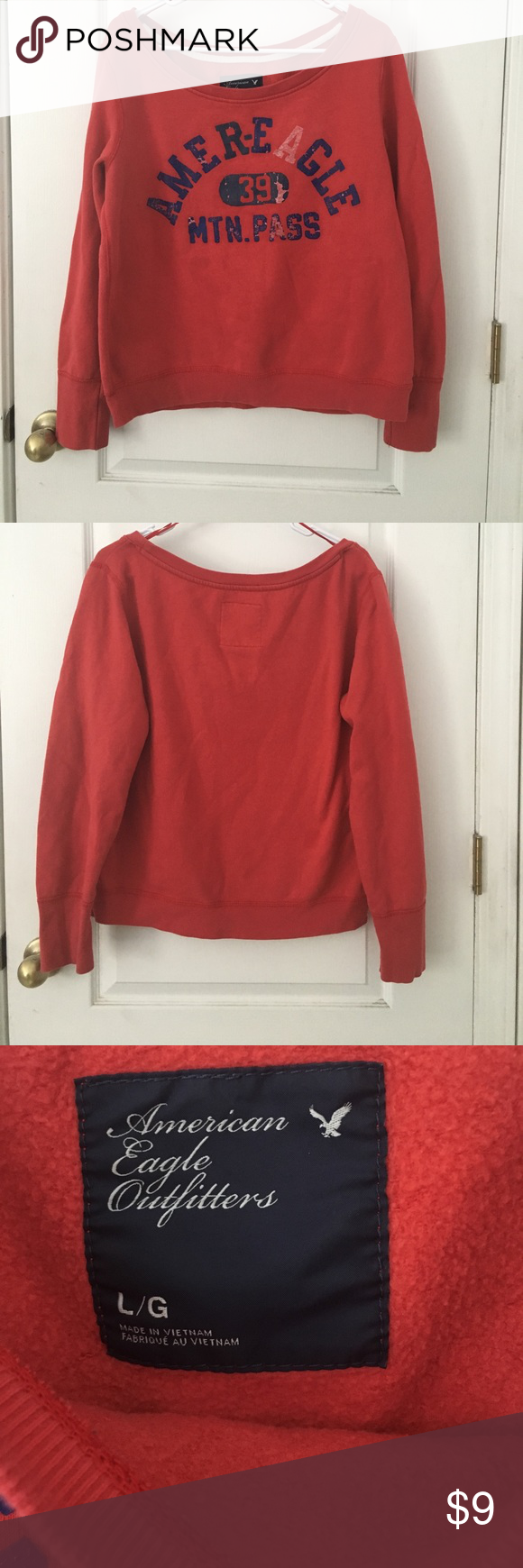 Comfy Cotton Worn Sweatshirt Vintage look and incredibly comfy!! There is slight wear and tear( see last picture) but other than that this is a very durable and amazing piece! American Eagle Outfitters Tops Sweatshirts & Hoodies