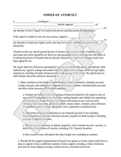 Power of Attorney Form Free Durable POA Template power of – Blank Power of Attorney Form