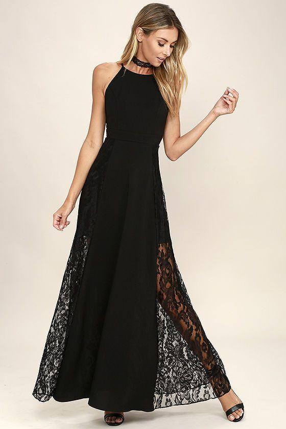 Black maxi dress straps