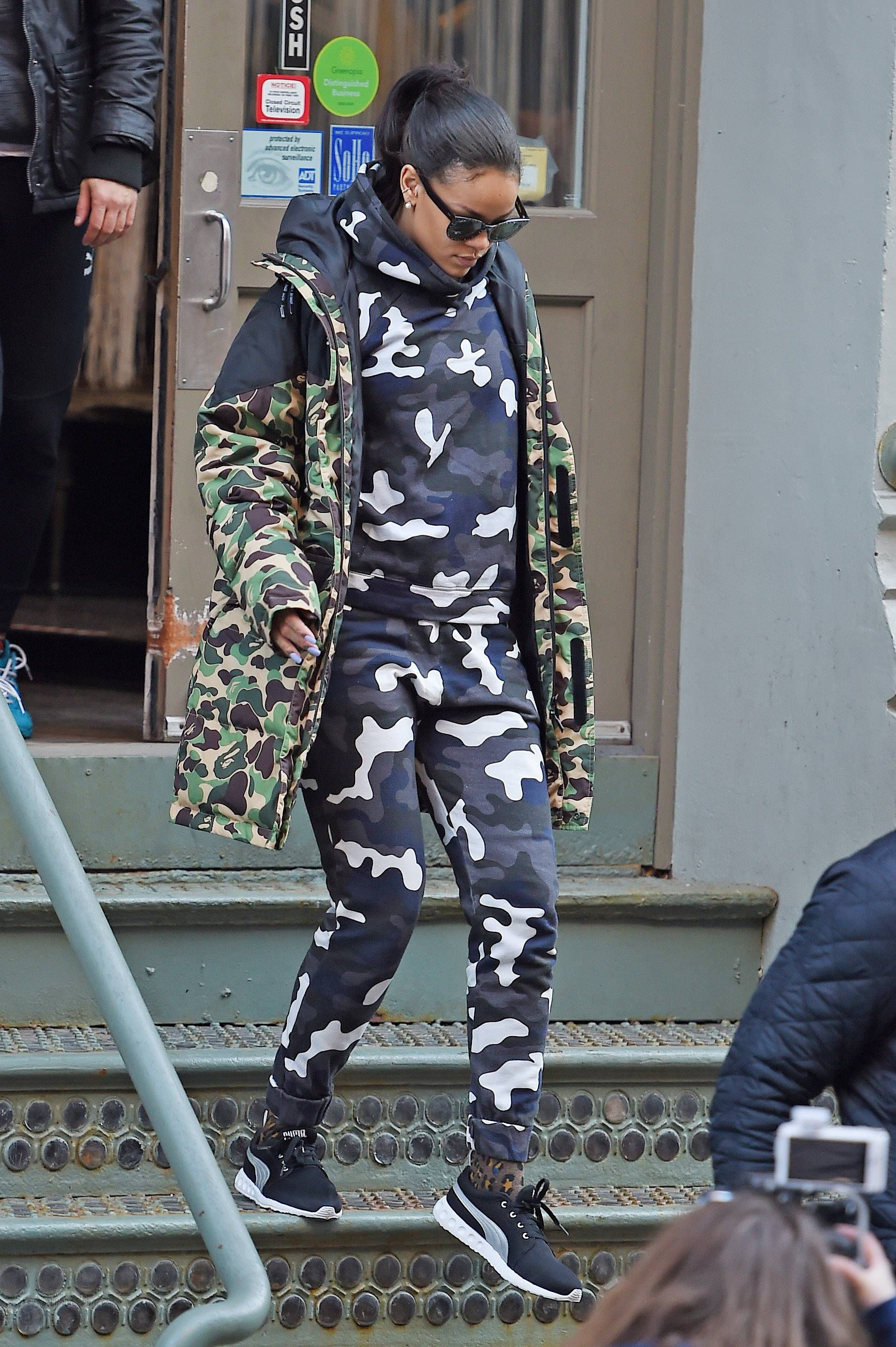 Rihanna wearing Christopher Kane Camouflage Printed Jersey Sweatshirt, Christopher  Kane Camouflage Printed Jersey Sweatshirt Pants, a Bathing Ape X Puma ...