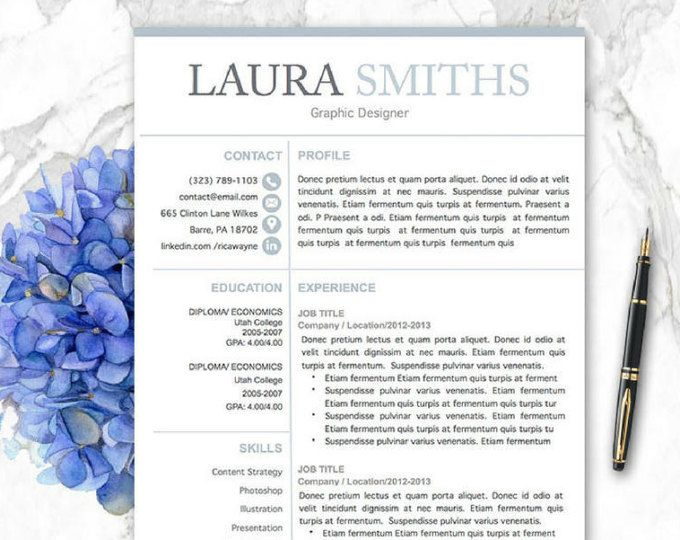 Modern Resume Template for Word, 1-3 Page Resume + Cover Letter + ...