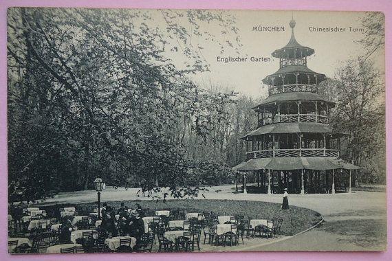 Antique Postcard Munich English Garden Chinese Tower Germany English Garden Antique Postcard Postcard