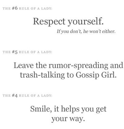 Rules Of A Lady | The rules of a lady