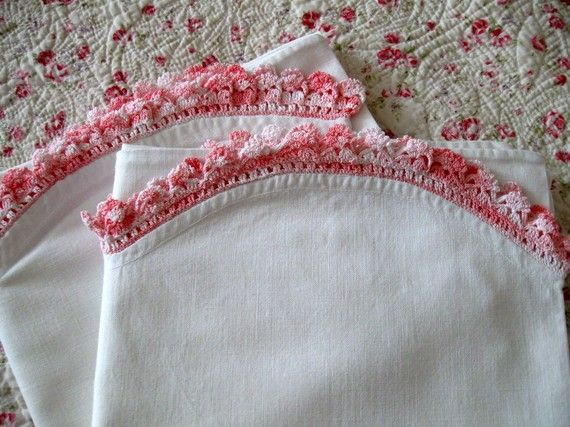 Vintage Antique Pillowcases Pink Crocheted by LinenWallflowers, $23.00