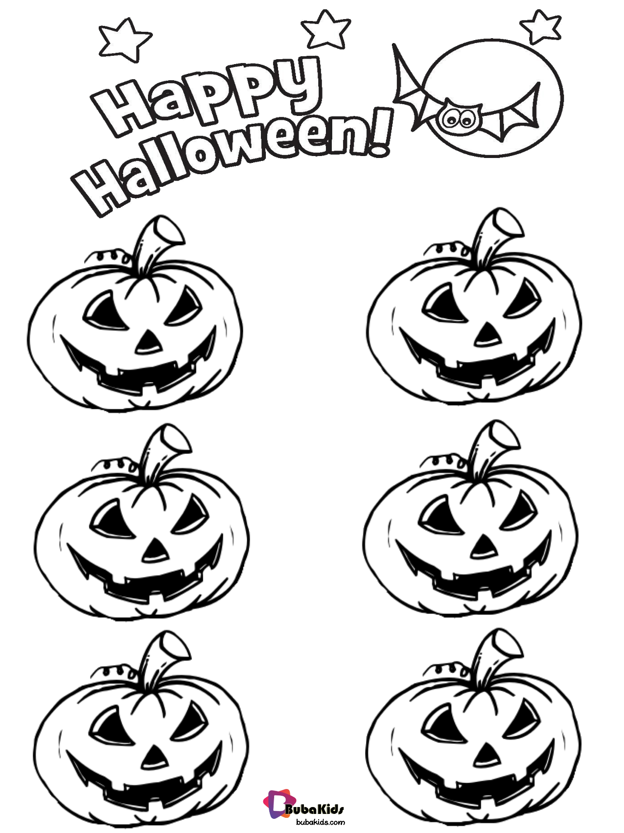 Jack o lantern pumpkins happy halloween coloring pages