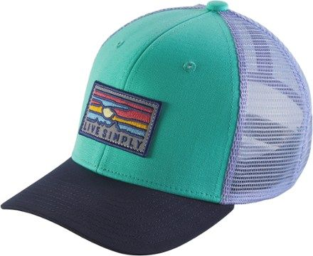 b63e6159ce7 Patagonia Girl s Trucker Hat Galah Green Live Simply Sunset